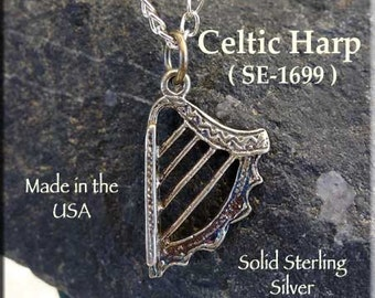 Harp Charm, Sterling Silver Celtic Harp, 3D Celtic Harp Necklace, Musician Jewelry, Harp Jewelry, Musician Jewelry, Celtic Jewelry - SE-1699