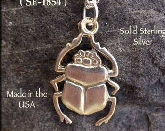 Sterling Silver Scarab Pendant, Egyptian Beetle Necklace, Egyptian Jewelry, Egyptian Pendant