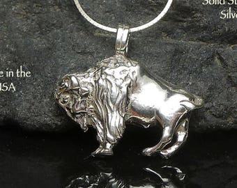 Sterling Silver Buffalo Pendant or Necklace, Southwestern Bison Jewelry, Native American Totem of Abundance and Strength