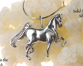 Sterling Horse Pendant, Bailed Prancing Horse Necklace, Equestrian Jewelry, Horse Lover Gift, Horse Jewelry - SE-1331