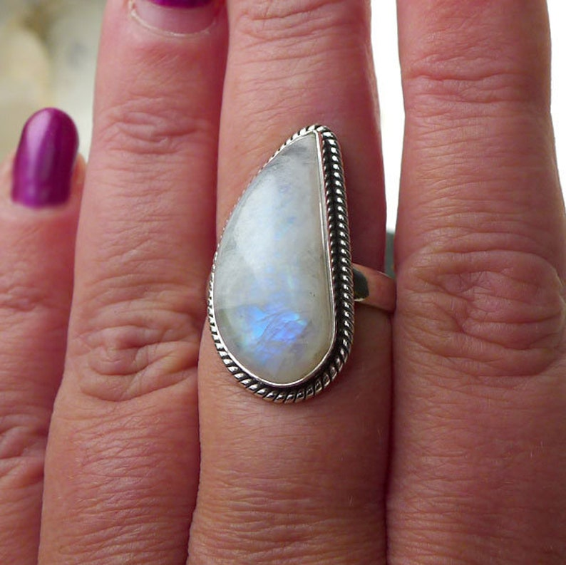 Sterling Silver Rainbow Moonstone Ring Size 9 BohemianTeardrop Flame