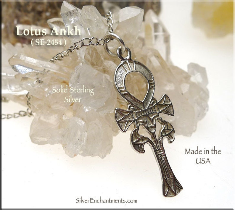 Solid .925 Silver Fancy Ankh Necklace Sterling Silver Ankh Pendant Egyptian Jewelry Egyptian Necklace