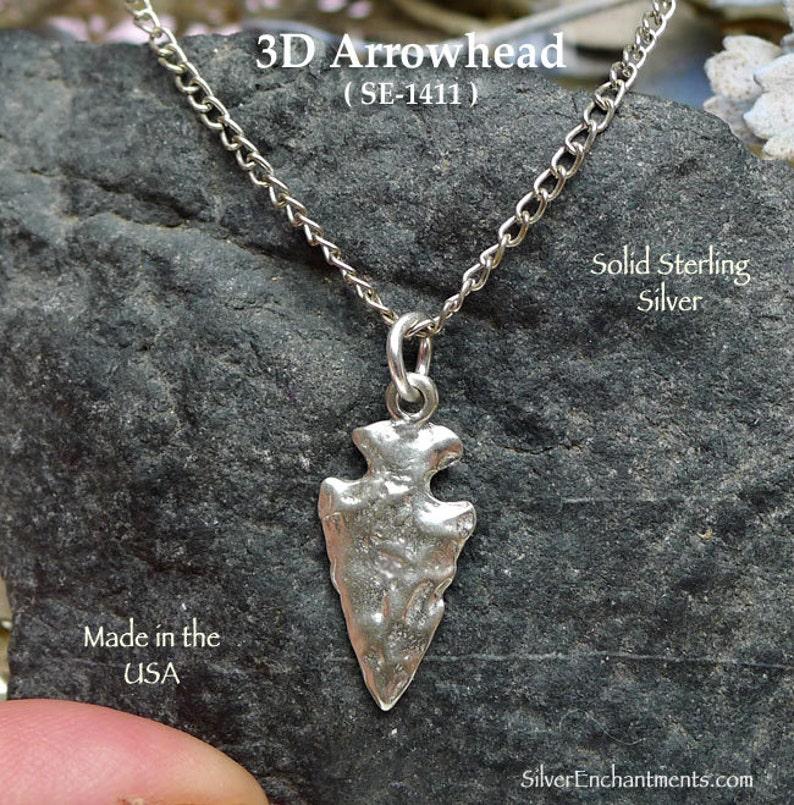 Southwestern Native American Jewelry 925 Sterling Silver Arrowhead Necklace