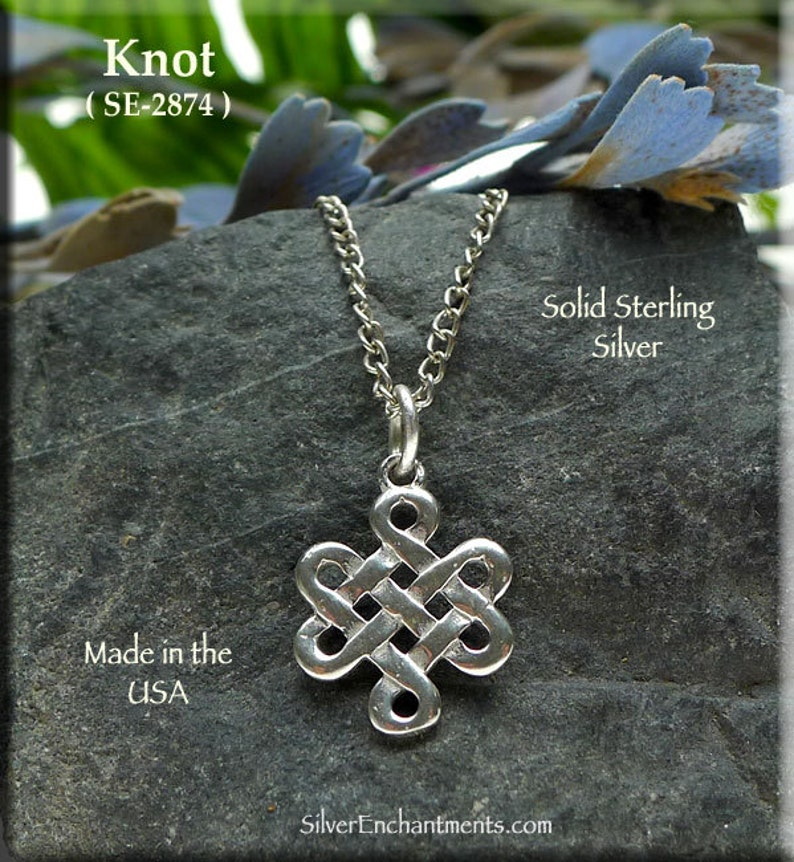 c8bec7238 Celtic Witch Knot Charm Necklace Solid .925 Sterling Silver | Etsy