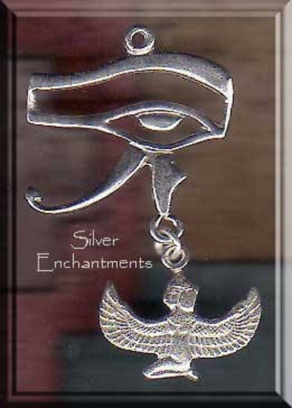 Sterling Silver Eye of Horus Pendant with Dangling Isis, Egyptian Eye and  Isis Jewelry, Egyptian Necklace