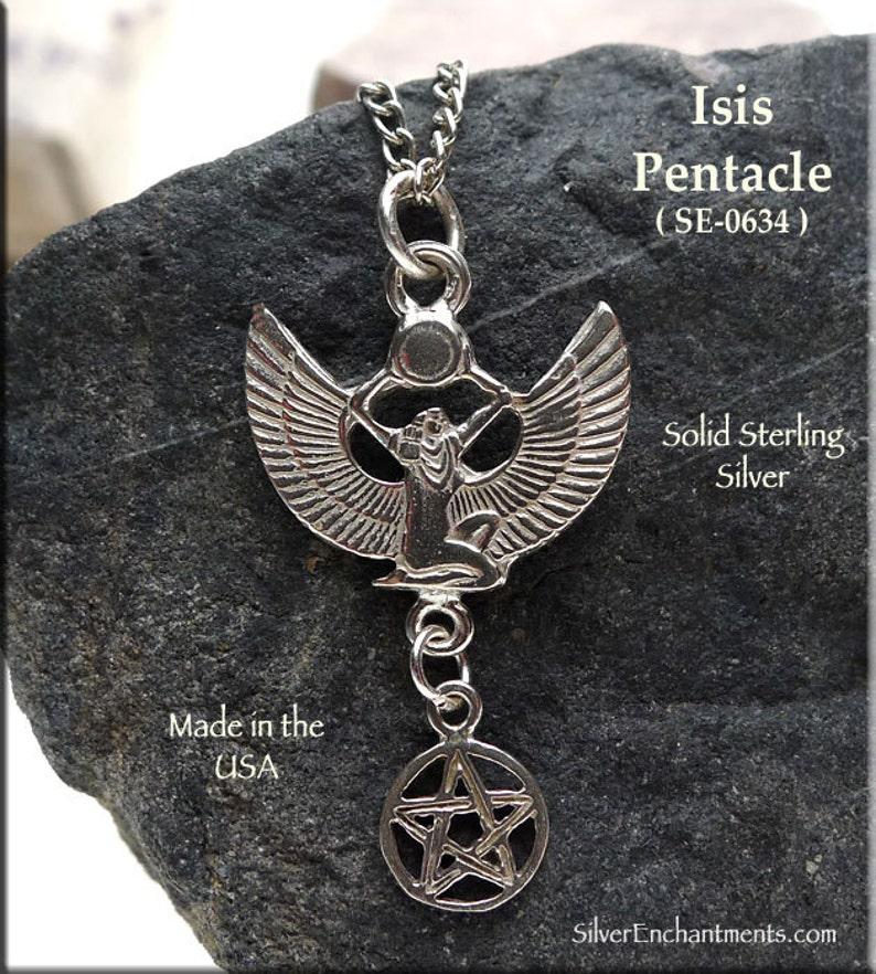ISIS EGYPTIAN GODDESS PAGAN PENDANT 925 STERLING SILVER