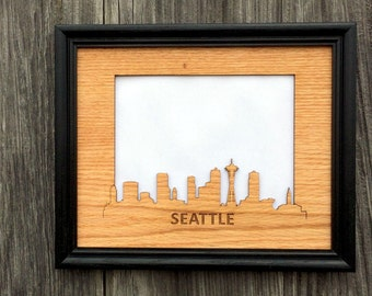 8x10 Seattle Picture Frame, Seattle Skyline Decor Gift for Seattle Lover, Vacation Photo Frame, Vacation Memories, skylineseries