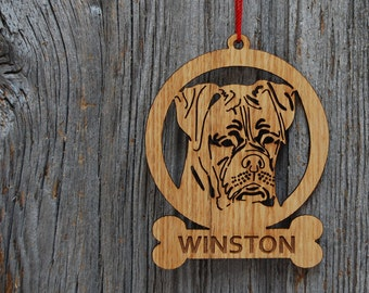 Dog Christmas Tree Ornament, Dog Bone Christmas Ornament, Dog Ornament, Wood Laser Engraved Custom Ornament, Wooden Ornament