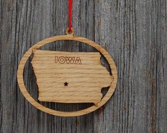 Iowa Ornament Gift for Traveler, Iowa State Ornament, Iowa Decor, Iowa Gift, Iowa Art, Iowa Cutout, State of Iowa, Laser Engraved Ornament