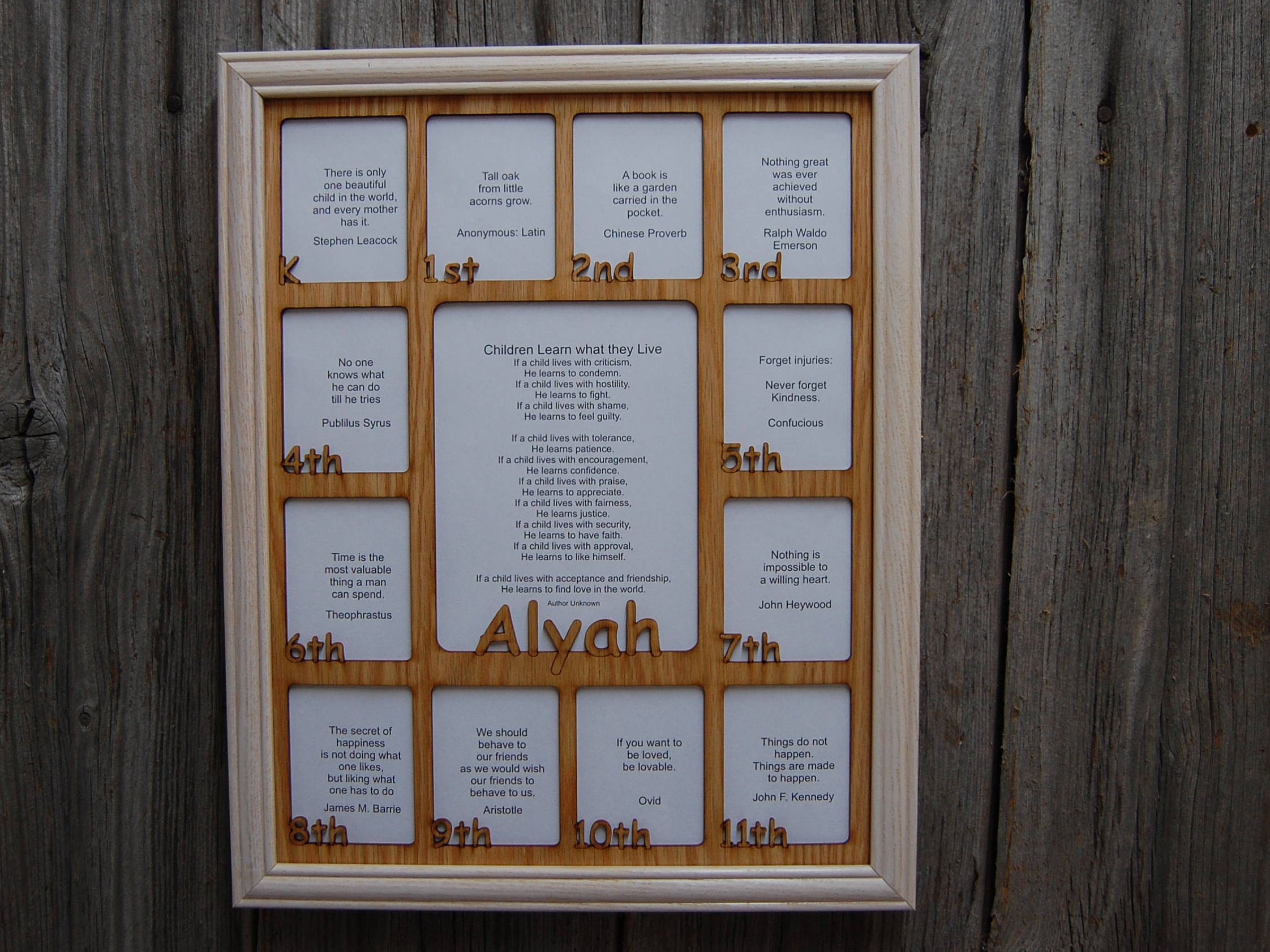 12x16 Personalized School Years Picture Frame Birth Thru 12th