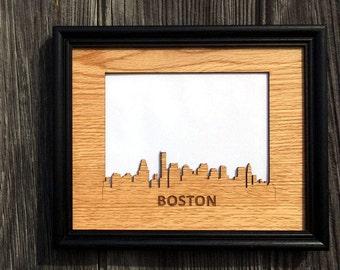 8x10 Boston Picture Frame, Boston Skyline Decor Gift for Boston Lover, Vacation Photo Frame, Vacation Memories, skylineseries