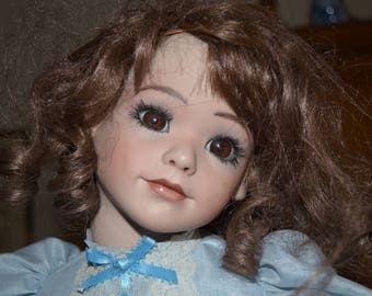 Antique Bisque French Doll Signed R Bartell 91 Brunette With Brown Eyes Hair Long Eyelashes Beautiful Blue Victorian Dress Strung Body