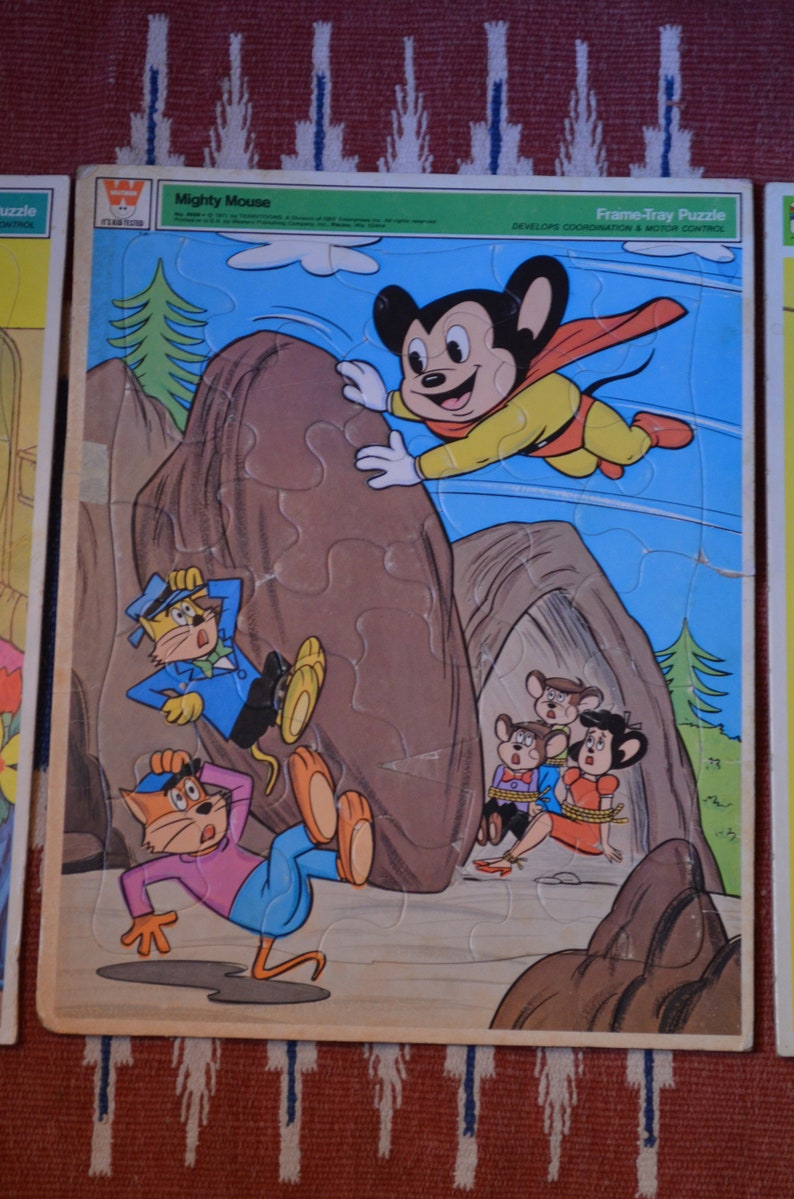 Vintage Large Frame-Tray Puzzles, Happy Horses, Tom & Jerry Train, Mighty  Mouse to the Rescue, Terrytoons Whitman, 11 X 14 Children's