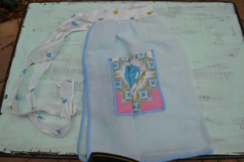 Blue and Purple Accents Handmade Patchwork Kitchen Aprons Pair of Vintage Half-Aprons with Floral Pockets and White Light Linen Fabric