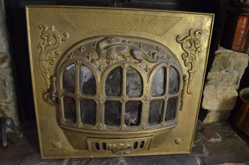 Tremendous Antique Gothic Revival Solid Brass Metal Fireplace Insert W Dragon Gargoyles Victorian Historic Denver Home Antique Wood Burning Insert Download Free Architecture Designs Pushbritishbridgeorg