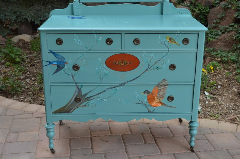 Bird Dresser Solid Wood Dovetails Warbler Backyard Birds: Robin Antique Hand-Painted Songbird Dresser w Mirror Swallow Purple Martin