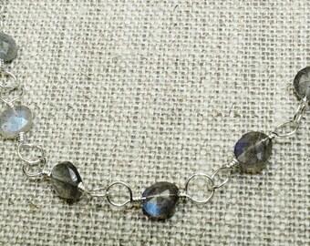Labradorite beaded choker, silver labradorite necklace choker necklace simple necklace minimal jewelry