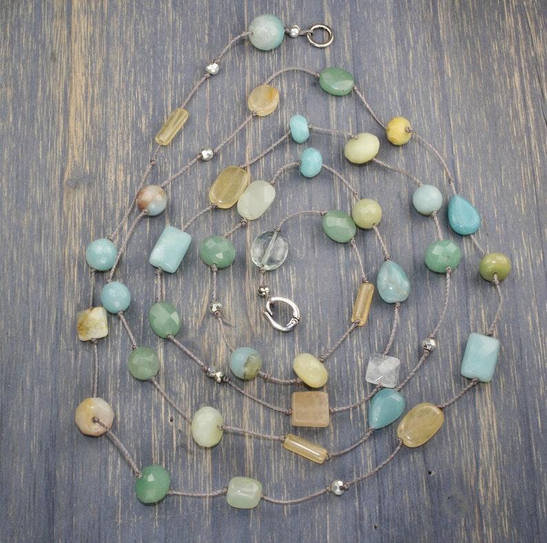 layered necklace Layering multi stone wrap bridal beach  aqua long knotted necklace long beaded boho peach moonstone summer bridal
