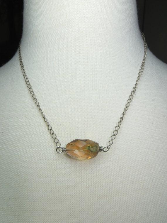 silver and citrine chunky statement necklace November birthstone necklace Raw Citrine gemstone choker necklace