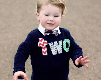 Two Birthday Shirt Boy 2 Year Old 2nd Outfit Boys Navy Blue Red Chevron Pez Green Circle