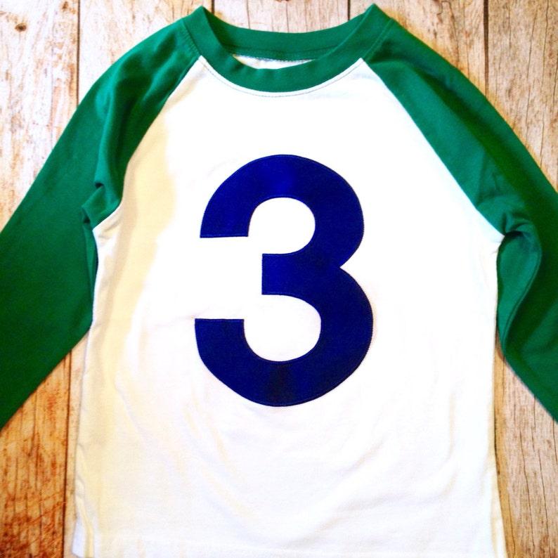 64e4a9d370ac Kelly Green White 3rd birthday shirt Baseball Raglan Navy blue | Etsy