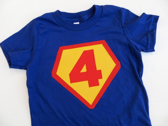 Super Hero Birthday Shirt Royal Blue Red Yellow Children