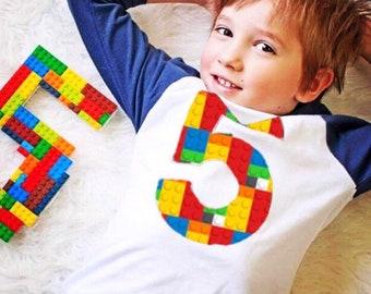 5th construction Birthday shirt, 5 block outfit, Building Brick, Navy and White sport baseball Raglan boy, 1 2 3 4 6 7 year old 4th 6th 7th
