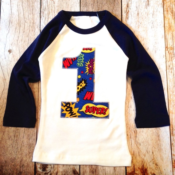 One 1st Superhero Birthday Shirt Navy And White Baseball