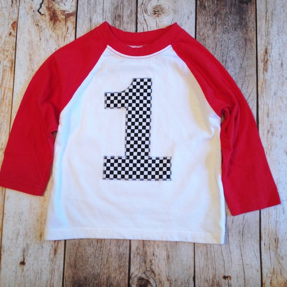 Racing Number 3 Checkered Flag Royal Adult T-Shirt