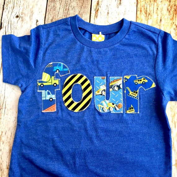 4 Year Old Birthday Boy Outfit 4th Birthday Shirt Four Birthday Toddler Happy Birthday Outfit PERSONALIZED Construction Birthday Shirt