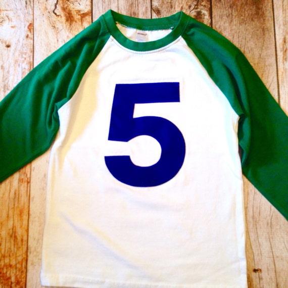 78bb3adf764f Kelly Green White 5th birthday shirt Baseball Raglan Navy blue | Etsy
