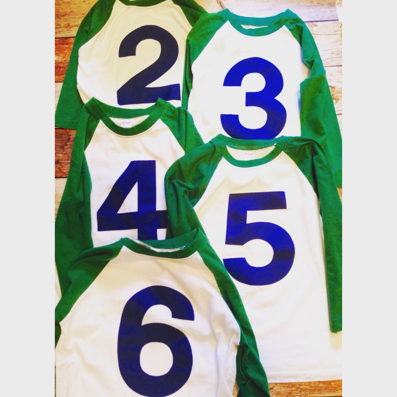 a52b603525f2 Baseball Raglan Birthday shirt Kelly Green and White 5th | Etsy