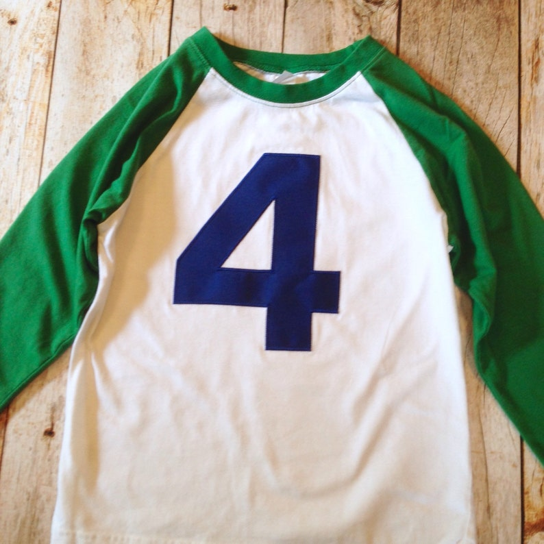 84af49cd869a Kelly Green White Baseball Raglan Navy blue number boys | Etsy