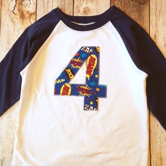 Superhero Birthday Shirt Navy And White Baseball Raglan Royal