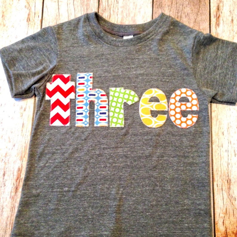 yellow Birthday Shirt pez Athletic grey Short Sleeves three in green red and orange letters blue