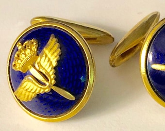 Beautiful SPORRONG Cufflinks Military Royal Swedish Airforce Cobalt Enamelling Made in Sweden