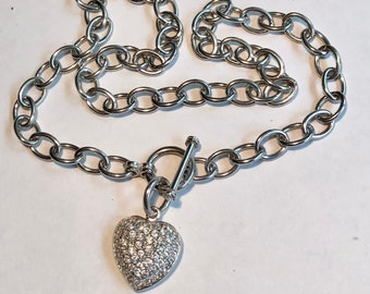Vintage Silver Vintage Heart Pendant Sweetheart Necklace w Toggle Clasp 33 grams 17in Sterling Puffy Heart Charm Choker Necklace