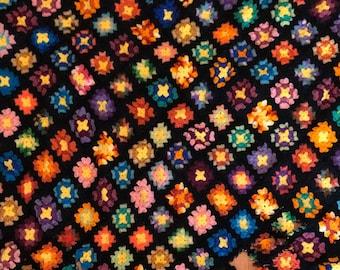 Handmade Afghan Blanket Deco Crocheted Beautiful Black Background AS IS Damaged yet Pretty Restoration Cutter Fabric Destash SALE!
