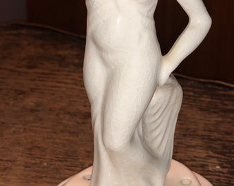 Green pottery nude girl on fish figurine #3