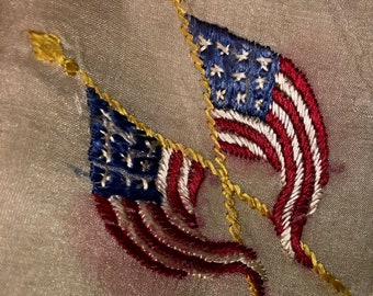 85037deb8547 WWI Embroidered American Flag Silk Scarf 20 Inch Silk with Double Flags on  Corner Over 100 Years Old! United States Patriotic Souvenir