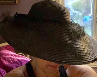 de309dabc23bb Wide Brimmed Hat Elegant 1940s Black Wide Brim Hat Movie Star Statement Hat
