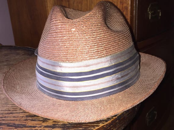 Stetson Straw Hat Stetson Fedora Long Oval Size 6 7 8 Brown  35a1242f566