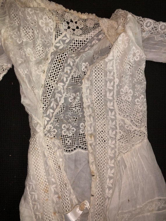 Authentic Antique Edwardian Lace Dress Victorian … - image 8