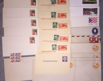 USA Stamped Air Mail Stamp Postcards Unused Uncirculated Circa 1950s-80s 22 Various Postcards w Uncanceled Stamps SALE