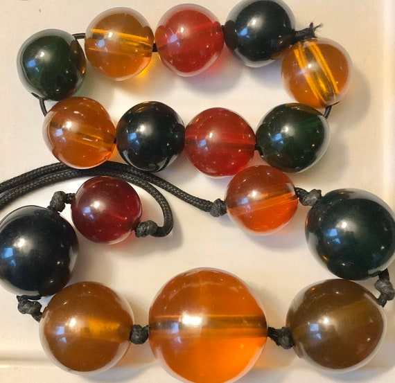 MOD Jawbreaker Beads Necklace Set Midcentury Luci… - image 1
