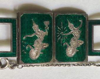 Rare Vintage Siam Silver Green Enamel Bracelet Sterling Silver Niello Mekala Goddess Bracelet Unusual Early Style Over an Ounce