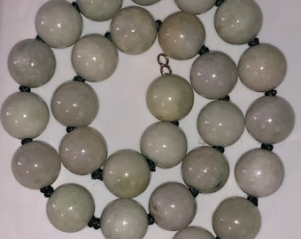 Large Jade Bead Necklace 22 Inches Hand Knotted Jadeite Beads Untreated Pale Lavender and White  254 GRAMS! Over Half a Pound