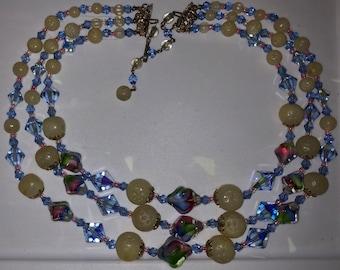 Art Glass Choker Antique Multistrand Necklace Vintage Choker Bib Style Pastel Swirl