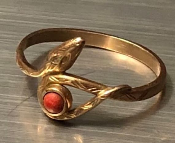 Victorian Rose Gold and Coral Snake Ring WSS 585 H