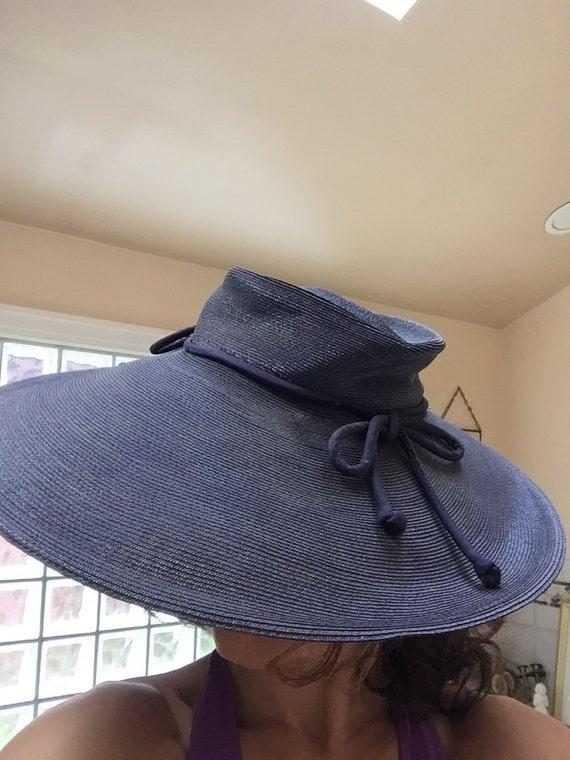 Wide Brimmed Hat 1940s Black Straw HAT Retro Designer Hat  5593fa9e10f